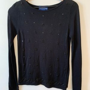Black Sweater w/ Sequins/Bead/Embroidered Flowers